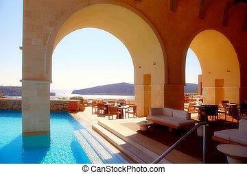 sommar, hotell, terrassera, med, sjögång se, och, utomhus- slå samman, kreta, greece.