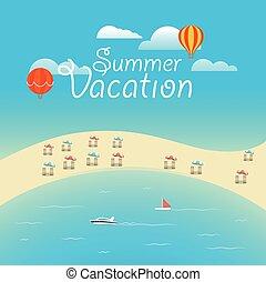 sommar, krydda, vektor, concept., sommar ferier, illustration