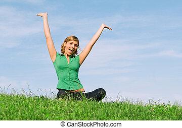 sommar, kvinna, hälsosam, ung, utomhus, lycklig