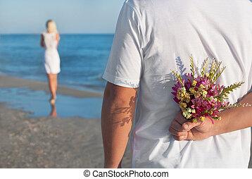 sommar, kvinna, hans, romantisk, bukett, par, valentinkort, -, eller, väntan, begrepp, blomma, hav, bröllop, man, datering, strand, dag, älskande