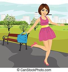 sommar, kvinna, parkera, ung, handväska, spring, nöje, ha