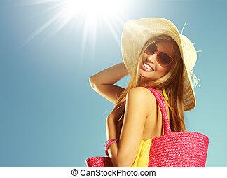 sommar, kvinna, semester