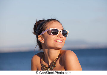 sommar, kvinna, strand semester, lycklig