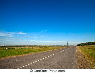 sommar, landskap, med, lantlig väg, och, mulen himmel