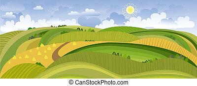 sommar, landskap, panorama