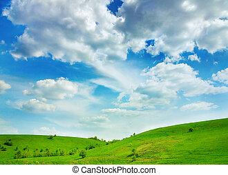 sommar, landskap, vibrerande färg