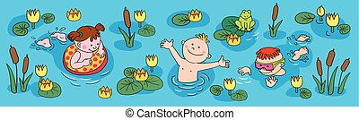 sommar, litet, söt, vacation., badning, sunning, passa, flicka, strand