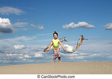 sommar, litet, scen, flicka, strand, leka