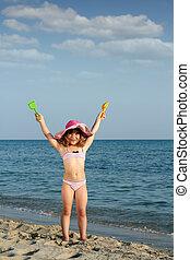 sommar, litet, scen, flicka, strand, lycklig