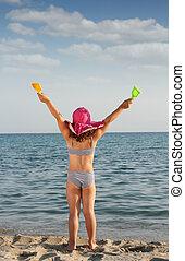 sommar, litet, uppe, scen, räcker, strand, lycklig