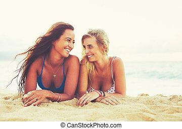 sommar, livsstil, vänner, stranden
