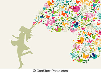 sommar, lycklig woman, komposition, tid