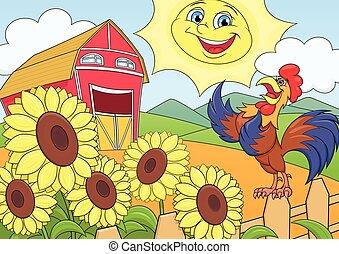 sommar, morgon, lantgården