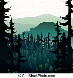 sommar,  Mountains, natur, Skogar,  rivers, bakgrund, landskap