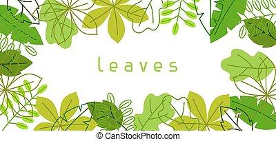 sommar, naturlig, fjäder, leaves., stylized, grönt lövverk, baner, eller