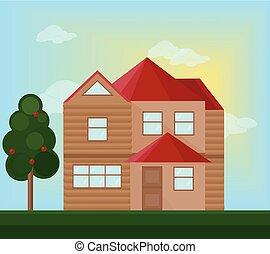 sommar, nymodig, house., illustration, vektor, arkitektur, bakgrund, fasad