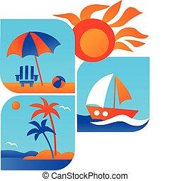 sommar, och, res ikon, av, strand, och, hav, -1