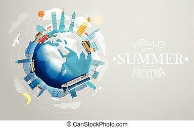 sommar, olik, begrepp, illustration., resa, semester, över, resa, vektor, vehicle., värld, hej