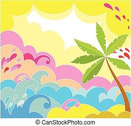 sommar, palm, bakgrund