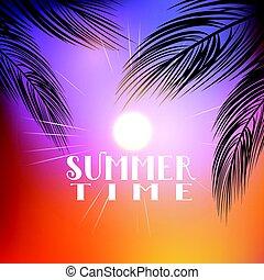 sommar, palm trä, bakgrund, 0706