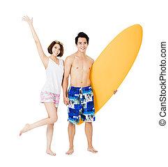 sommar, par, ung, semester, nöje, ha, lycklig