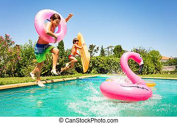sommar, parti, avnjut, vänner, slå samman, lycklig