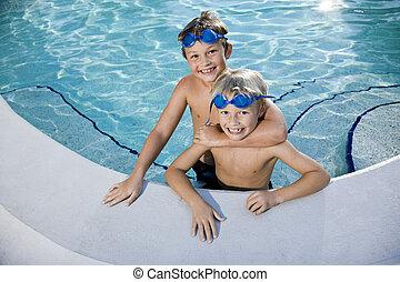 sommar, pojkar, nöje, spelande damm, simning