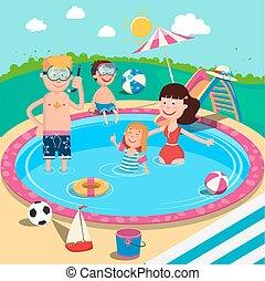 sommar, pool., familjvacation, barn, föräldrar, nöje, le, simning, ha, lycklig