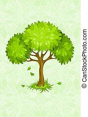 sommar, prydnad, grönt träd, bakgrund