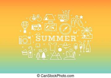 sommar, resa, begrepp, illustration, ikon
