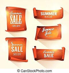 sommar, sätta, försäljningarna, pergament, rulla, lysande