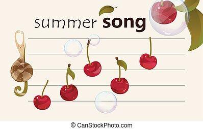 sommar, sång, -, fruktliknande, bakgrund, musikalisk