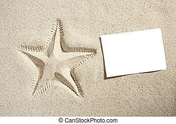 sommar, sjöstjärna, sand tidning, tom, strand, halvstop