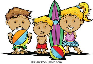 sommar skämtar, avbild, vektor, strand, eller, slå samman, simning
