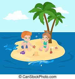 sommar skämtar, omkring, vacation., barn, vatten, sand strand, leka