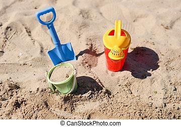 sommar, skovel, sprinkler, färgrik, solig, toys, sand hink, strand, dag