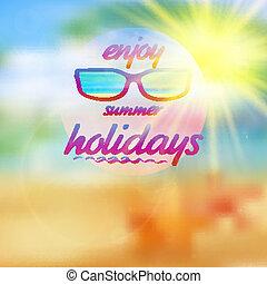 sommar, sky, med, sol, tröttsam, sunglasses.