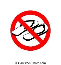 sommar, slippers., shoes., stoppskylten, förbud, trafik, tillåtet, inte, röd