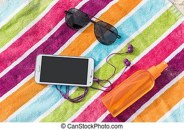 sommar, smartphone, semester, solglasögon, sunscreen