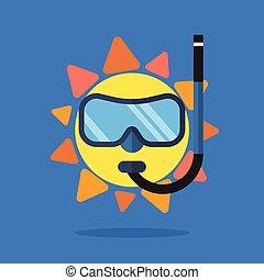 sommar, sol, bärande solglasögoner