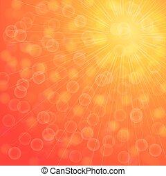 sommar, sol, gul, burst., lätt
