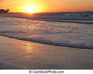 sommar, solnedgång