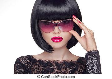 sommar, stående, av, en, attraktiv, ung kvinna, med, solglasögon, skönhet, och sätt, begrepp