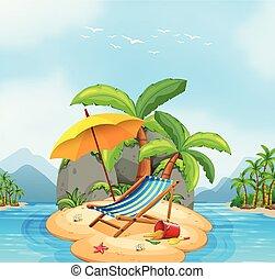 sommar, strand, ö