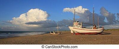 sommar, strand., över, jylland., stackmoln, fiske båt, jammerbuggten, dag, moln