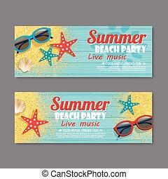 sommar, strand festa, inbjudan, biljett, mall, bakgrund