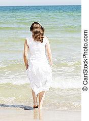sommar, strand, kvinna, lycklig