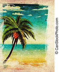 sommar, strand, palm