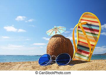 sommar, strand scen