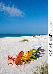 sommar, strand semester